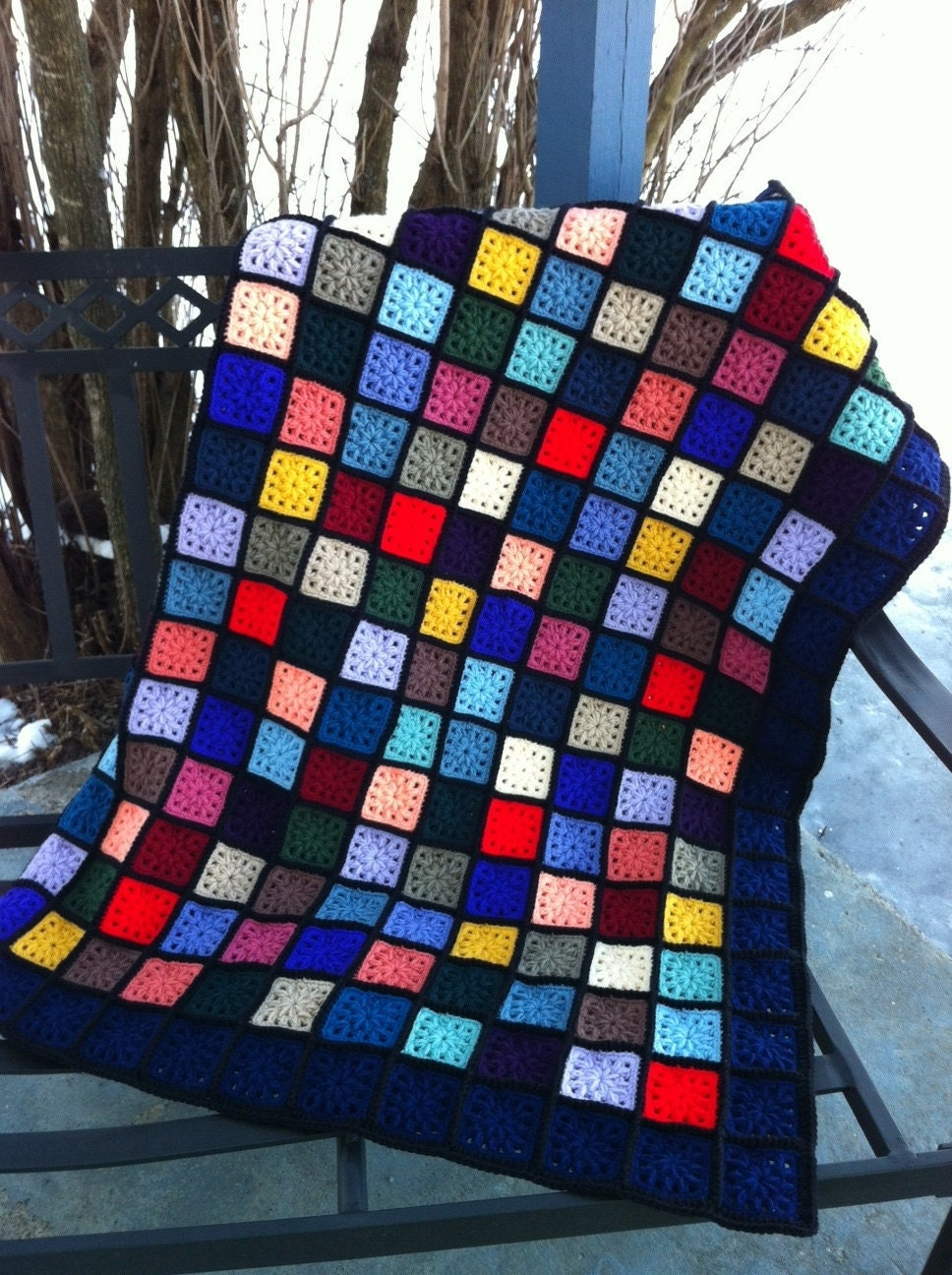 Kaleidoscope Stained Glass Crocheted Granny Square Afghan