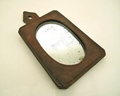 Army camp tent mirror with solid robust mirror incased in brown heavy duty leather