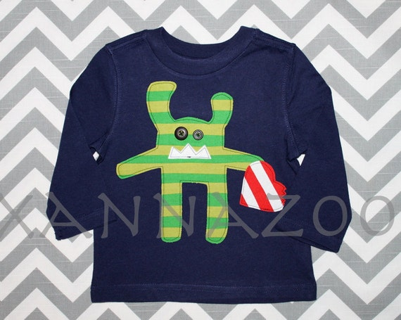 Green Striped Heart Monster 6m-14y