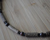 Therapeutic Hazelwood Necklace, Semi-Precious Jade, Black Glass Beads, Large Hazelwood, 18""
