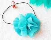 Blue Chiffon Flower Hairpiece Headband - Handmade Headband - Newborn Headband
