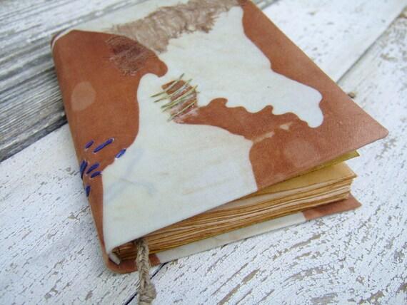 Handmade Journal, notebook - Land gentleness, antiqued paper, free shipping