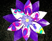 Purple and Butterfly Print Duct Tape Flower Clip