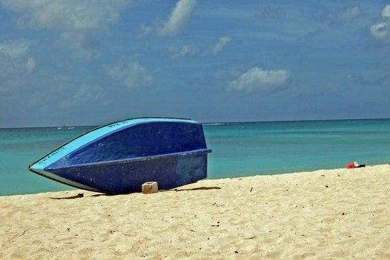 Set of 5 Blank Photo Note Cards  Boat on Beach in Barbados