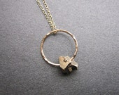 Hammered circle with iron pyrite Necklace 183