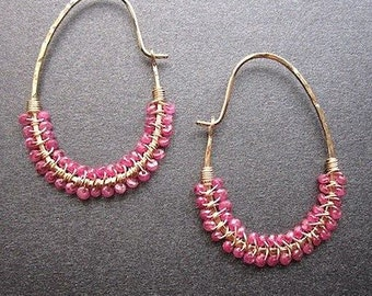 Drop hoop earrings wrapped with pink ruby Cleopatra 80