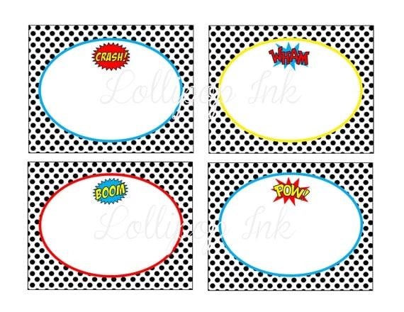 Superhero Large Label Food Card