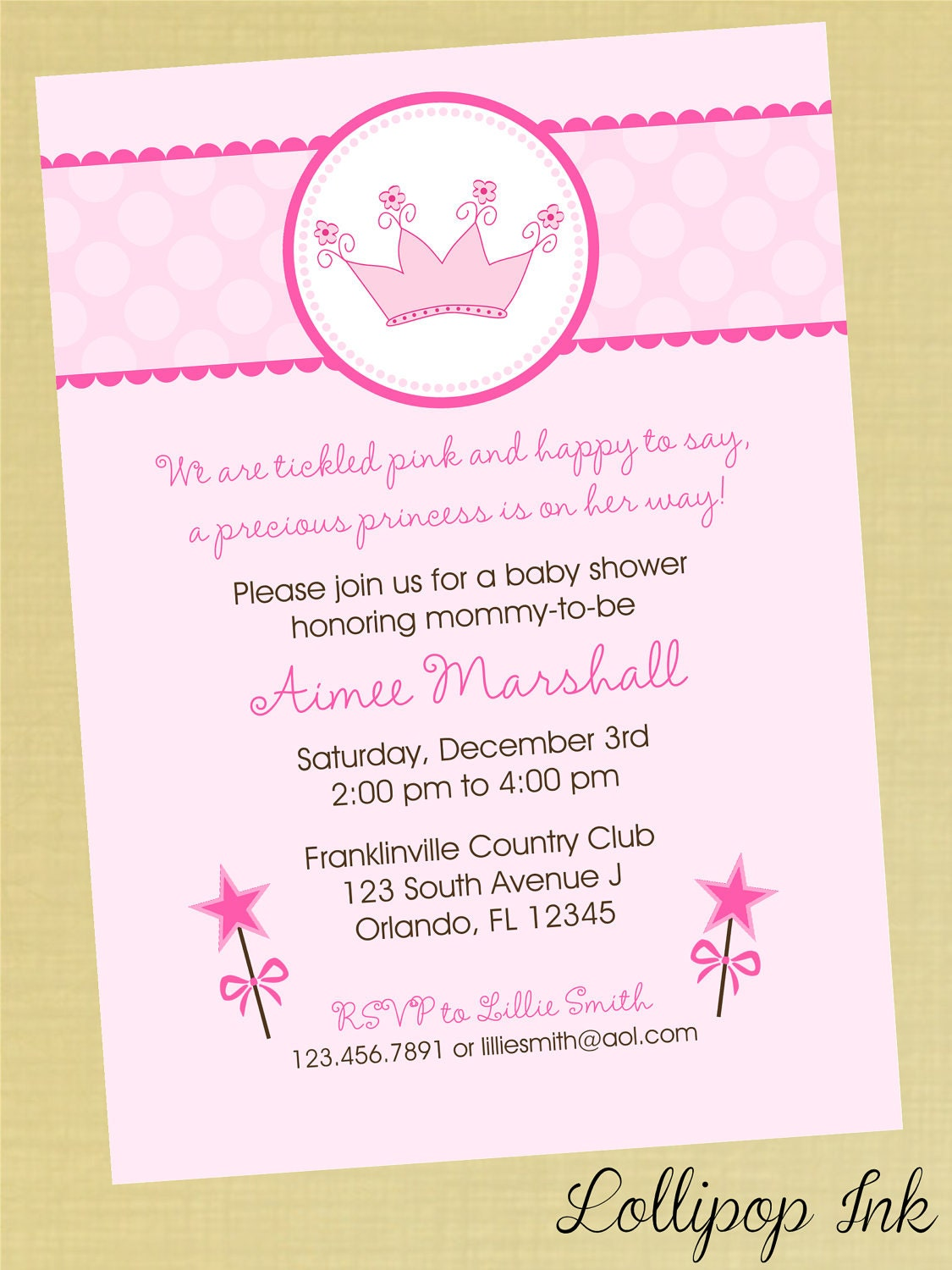 princess baby shower printable invitation by lollipopink on etsy