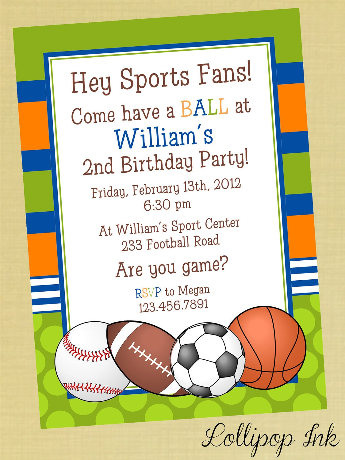Sports Printable Birthday Invitation Personalized by ...