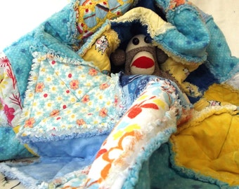 Flannel Rag Blanket for Adult Teen or Child - Cows Cupcakes & Snowmen