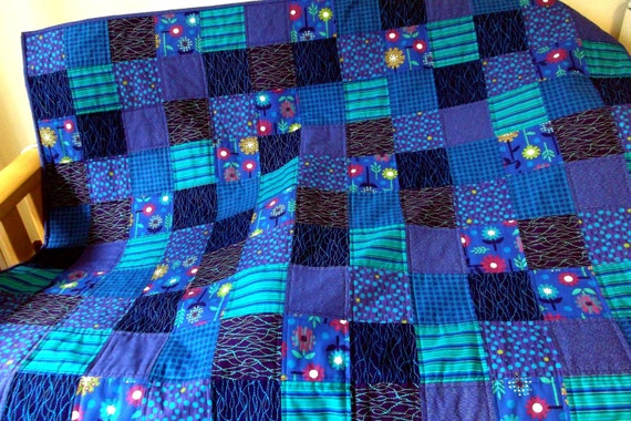 Quilt, Adult Teen or Child's Blanket - Blues