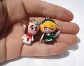 Legend of Zelda, Link and Zelda earrings/ pendants