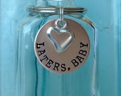 laters, baby- hand stamped bronze 50 shades inspired keychain with heart