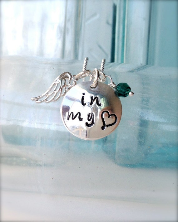 in my heart- small personalized memorial loss necklace with name and birthstone