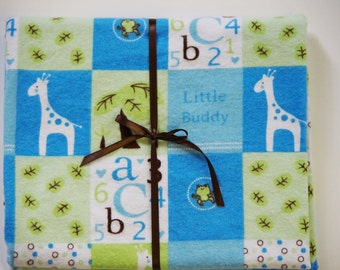 Extra Large Receiving/Swaddle Blanket- Blue Little Buddy, Giraffe, Frog 40x42