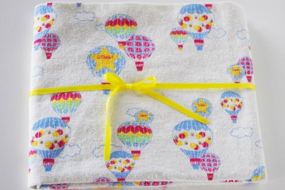 Extra Large/Swaddle Receiving Blanket - Primary Color Hot Air Balloons 40x40