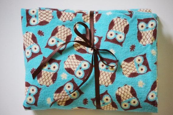 Pack n Play Sheet - Fitted Cotton Flannel Playard Sheet -  Turquoise Woodland Owl