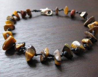 Bracelet Handmade Tiger's Eye Brown Stone in Thailand Fair Trade Jewelry (B071-BR)