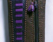 Very soft purple brown Genuine leather  pouch.