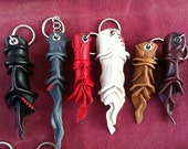 Genuine Leather keychain, keyring , key holder , leather key holder, mask