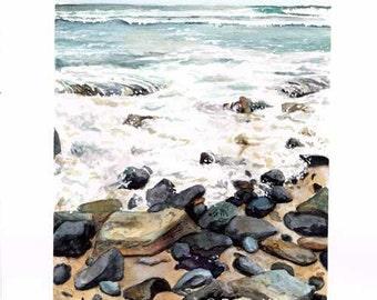 Ho'okipa Beach Rocks watercolor print by Paige Weber