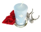 Snowflake Candle in Light Blue with Swarovski Rhinestones - Decorative Unscented Ice Blue Pillar Candle