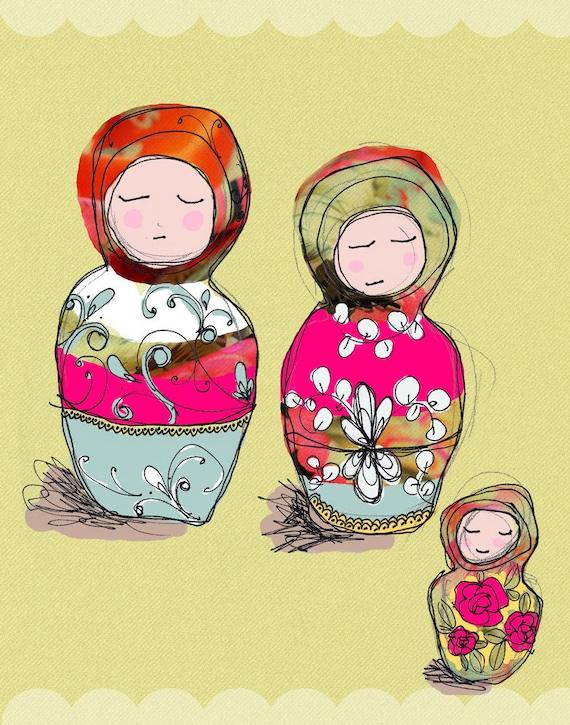 Babushka Dolls - Wall Art Print Nursery Decor - Yellow Blue Pink - Baby Shower Gift - Girl Room Bedroom Birthday - Christening