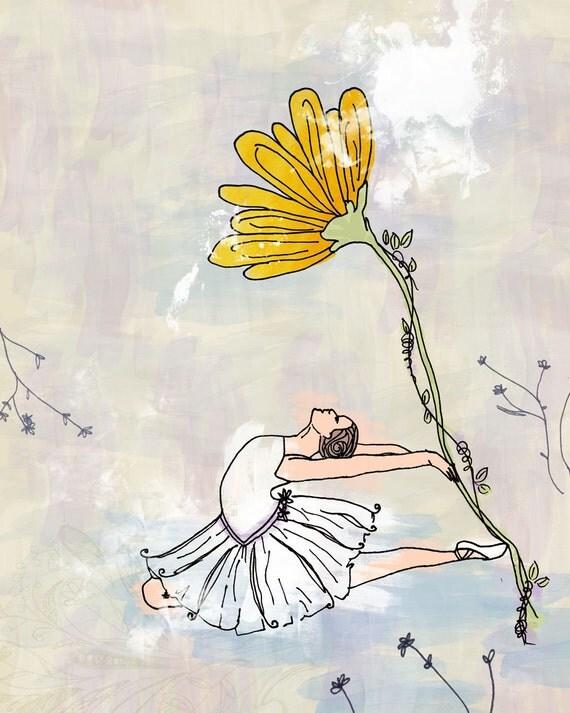 Ballerina Dancer Daisy Flower - Wall Art Print - Yellow Purple - Spring Baby Girl Nursery Room Bedroom Shower Gift