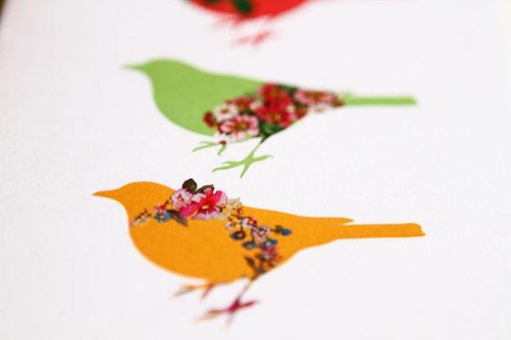 Birds Greeting Card Vintage Flowers Roses Pink Green Yellow (Blank) 138 x 105mm with Brown Kraft Paper Envelope