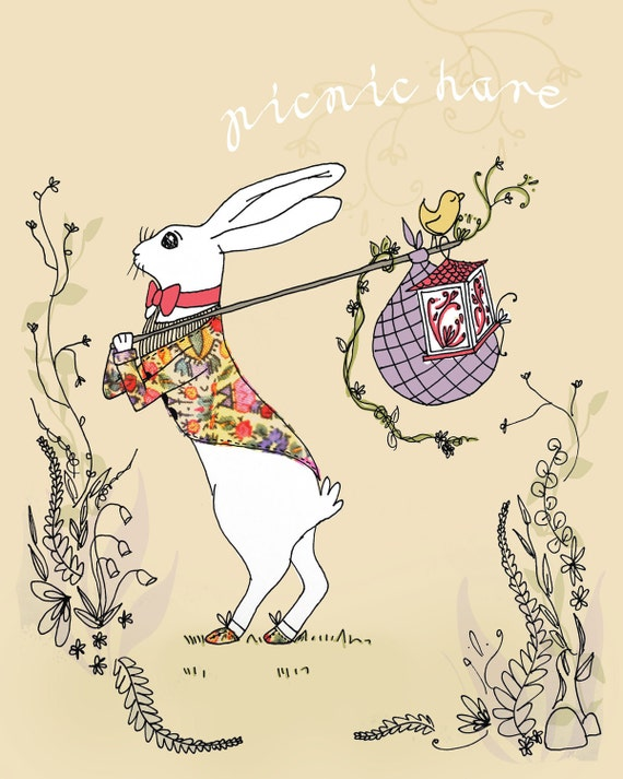 Unique Drawing of Spring Hare Carrying a Picnic Pack - 7x5 Giclee Art Print