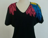 Vintage - Rainbow Autumn Bliss - Black Short Sleeved Knit Sweater / Leaf Design Chic Top
