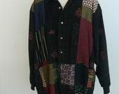 Vintage Hippie Patchwork Black Buttoned Jacket Blouse