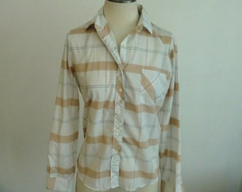 Vintage - Simple Girl Gone Plaid - Button Up Blouse / Tan and White Plaid Boho Chic Shirt