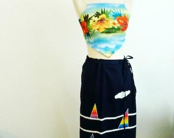 Vintage Geometric Sailboat Wrap Skirt