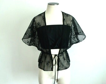 70s See Through Black Blouse 2 Piece Set - Tube Top And Risque Stiff Lace Cover Jacket With Wide Sleeves