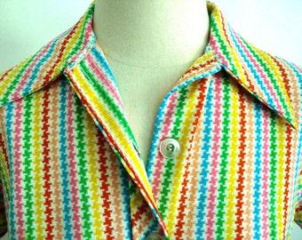 Vintage Rainbow Striped Button-Up Blouse Retro Fun