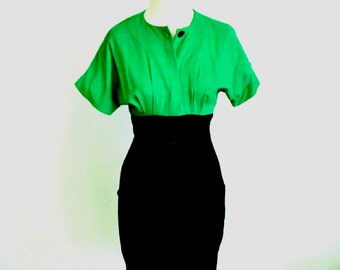 Vintage Sexy Pin Up Green and Black Dress