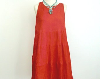 Vibrant Red Summer Tent Dress - Crinkle Guaze Material - Festival Beach Cover Up