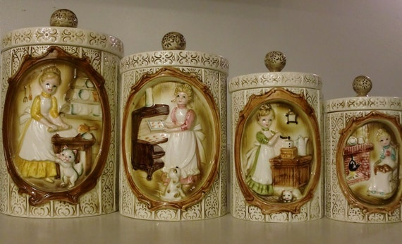 Vintage 1978 (4) Canister Set by Sears Roebuck and Co. Victorian Girls Design