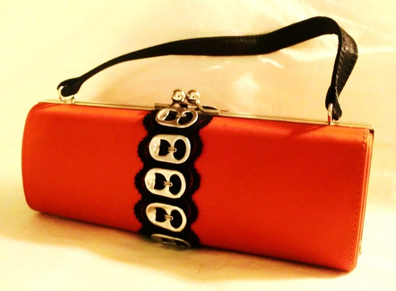 Punk Red Satin Hard Case Purse with Pop Tabs and Lace.