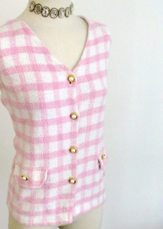Vintage - NOT Your Average Sexy Granny - Plaid Pink Vest Steampunk Chic Hippie Tank Top