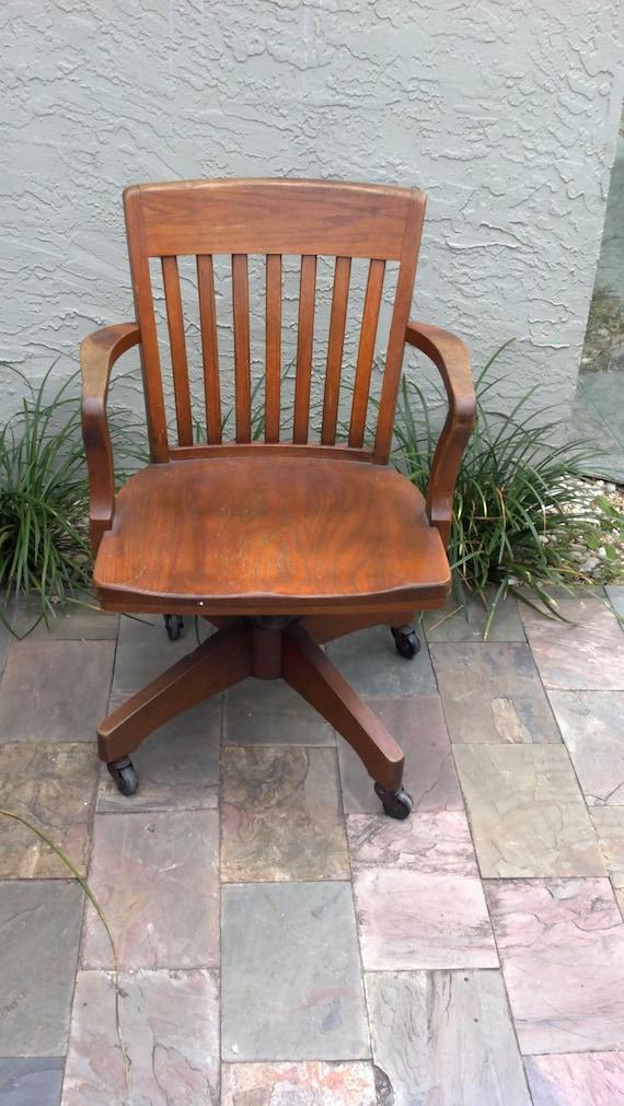 classic wood swivel desk chair