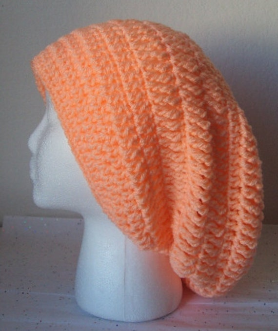 Crochet Slouchy Beret/Hat - Adult Size - Light Coral Color