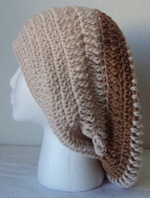 Striped Crochet Slouchy Beret/Hat - Adult Size Large - Chocolate Almond Color