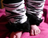 Zebra Black and White Animal Print with Double Black Ruffled Leg Warmers for Infant Baby or Toddler  Preteen Arm Warmers TOO CUTE