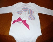 Heart Balloon Applique Onesie or Shirt with Bow