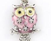Silver-tone Round PINK Enamel White Crystal Owl NECKLACE