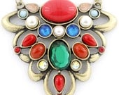 Vintage Beautiful Gold-tone Colorful Beaded Flower Pendant Necklace