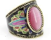 Special Gold-tone Black Bohemian Pink Cat-eye Stone Ring,Size 6 - JuliesJewelryStore