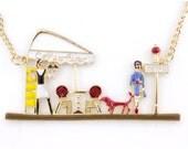 Pretty Funny Color Enamel Happy Summer Cafe Necklace